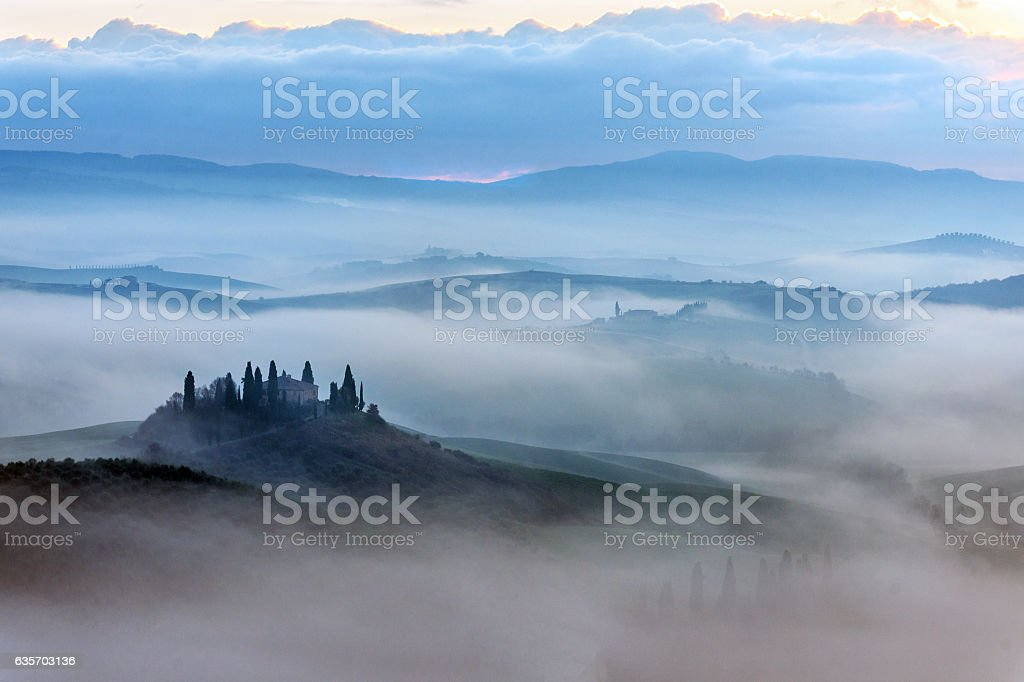 Scenic Tuscany landscape at sunrise, Val d'Orcia, Italy royalty-free stock photo