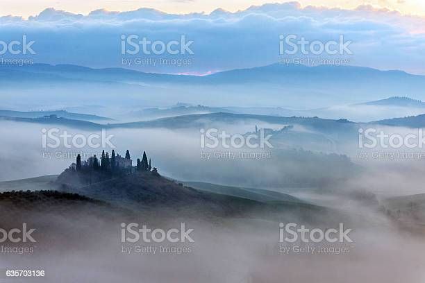 Photo of Scenic Tuscany landscape at sunrise, Val d'Orcia, Italy
