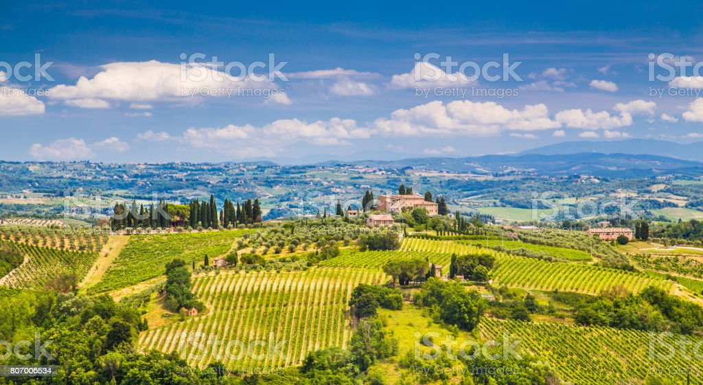 Scenic Tuscany landscape with rolling hills and valleys in Val d'Orcia, Italy stock photo