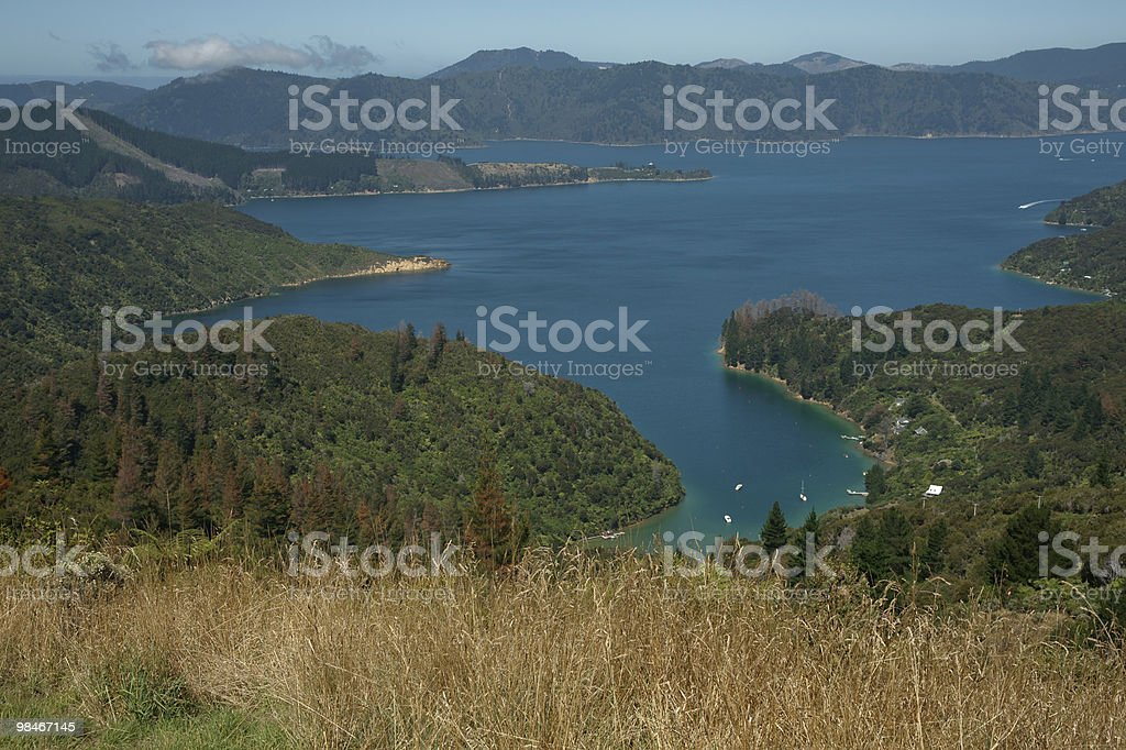 Scenic view across Marlborough Sounds. royalty-free stock photo