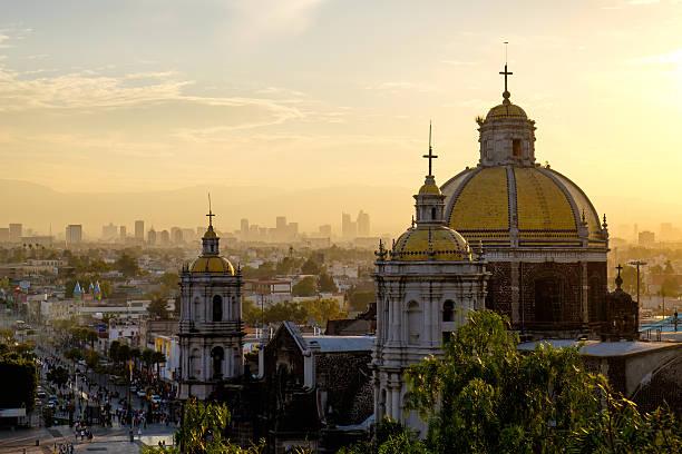 아름다운 전망, 성당 구어딜루페, 멕시코 시티 스카이라인 - 바실리카 뉴스 사진 이미지
