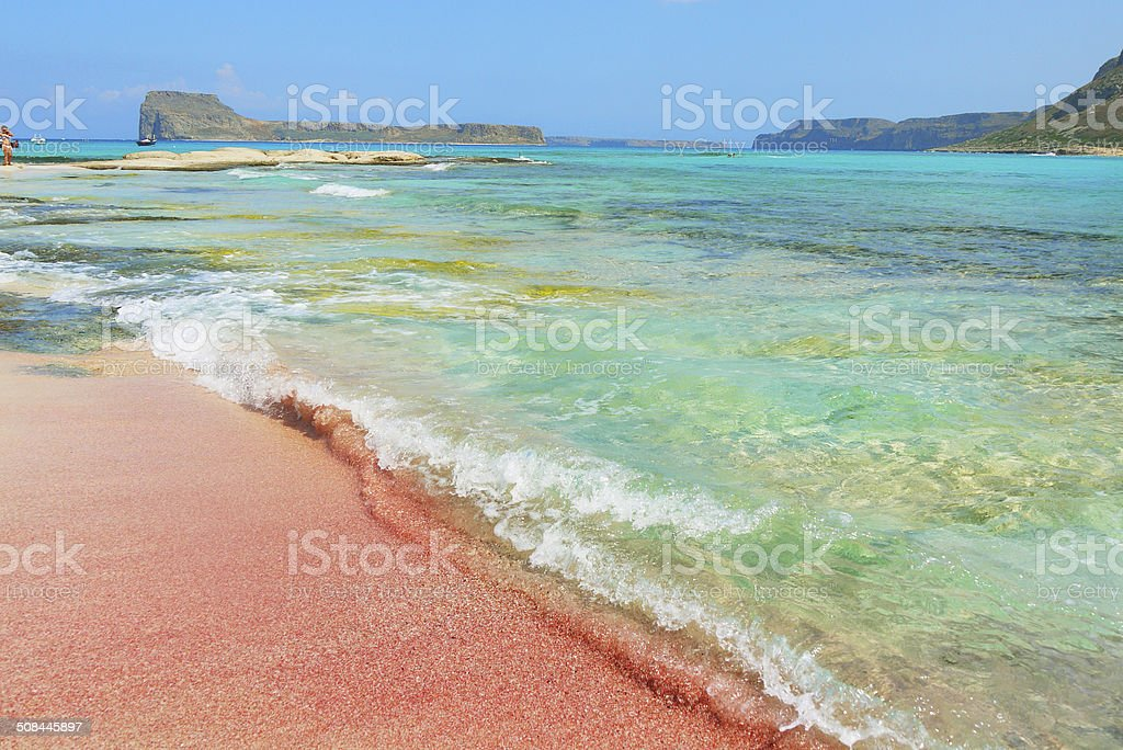Scenic view at colorful beach of Balos bay on Crete stock photo