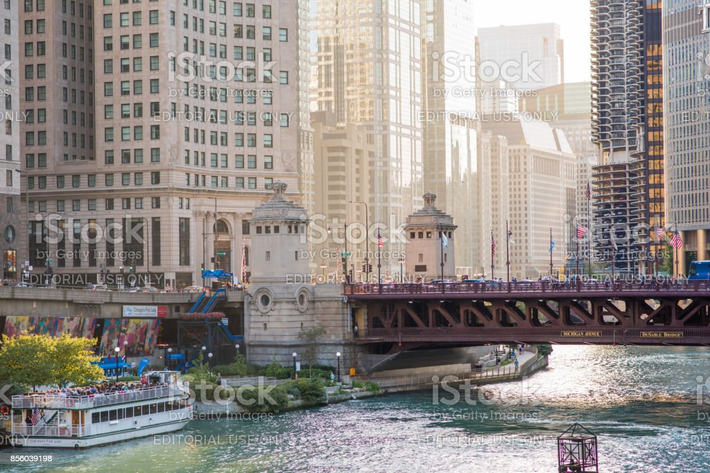 Scenic view, downtown Chicago stock photo