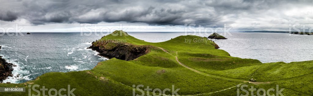 Scenic view flying above Cornwall coastline landscapes stock photo