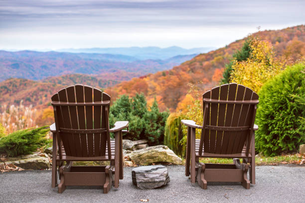 Scenic View for Two Chairs for two overlooking the Blue Ridge Mountains blue ridge mountains stock pictures, royalty-free photos & images