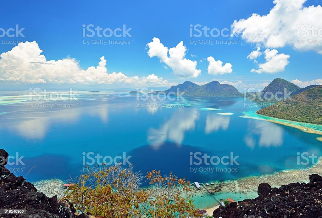 Scenic view from above taken from Bohey Dulang stock photo