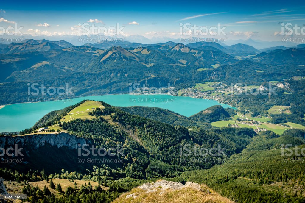 Scenic view from Schafberg over Lake Wolfgang stock photo