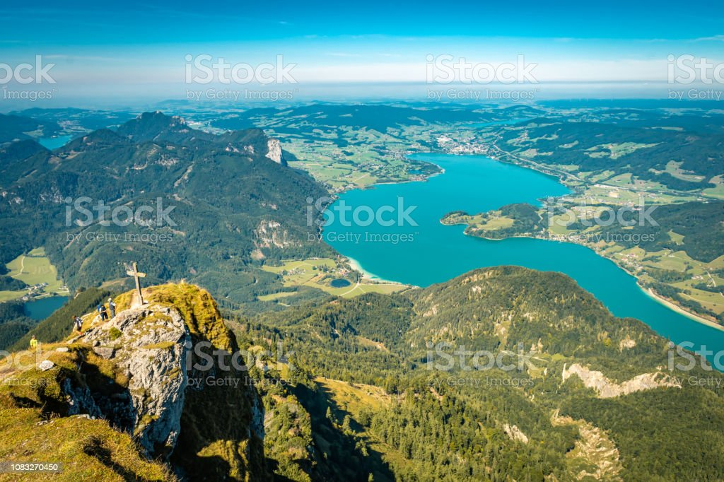 Scenic view from Schafberg over the alpine foothills of Northern Limestone Alps and Mondsee Lake. stock photo
