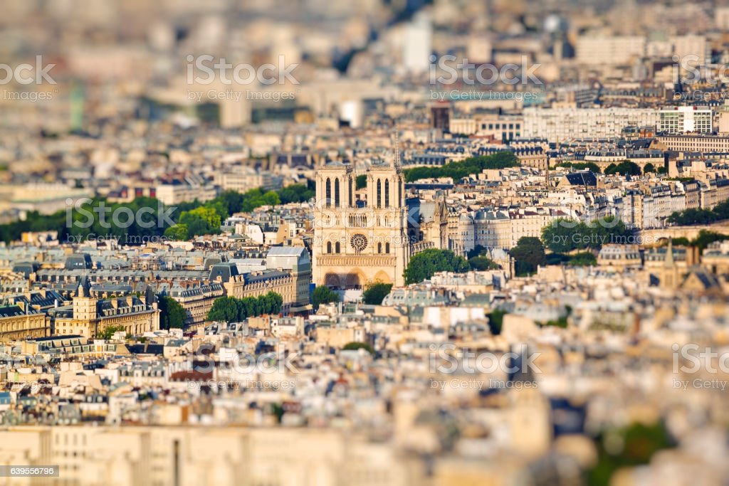 Scenic view from the top of the Eiffel Tower. Paris stock photo