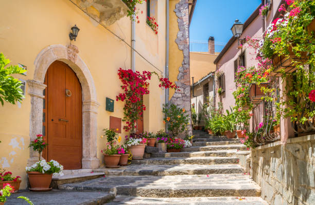 Scenic view in Forza d'Agrò, picturesque town in the Province of Messina, Sicily, southern Italy. Scenic view in Forza d'Agrò, picturesque town in the Province of Messina, Sicily, southern Italy. sicily stock pictures, royalty-free photos & images