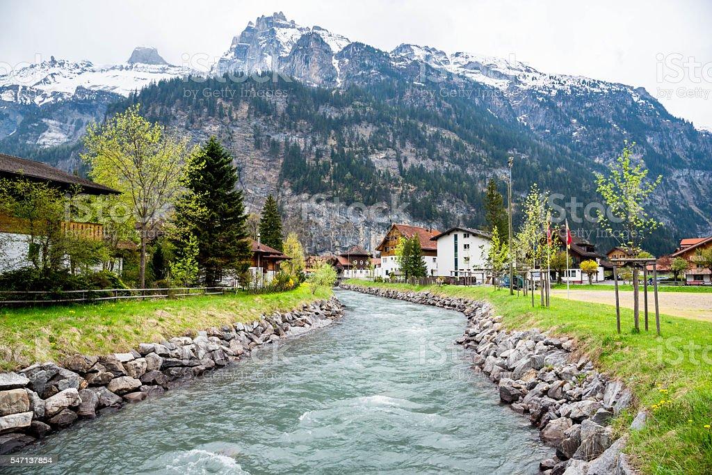 Scenic View in Kandersteg Switzerland stock photo