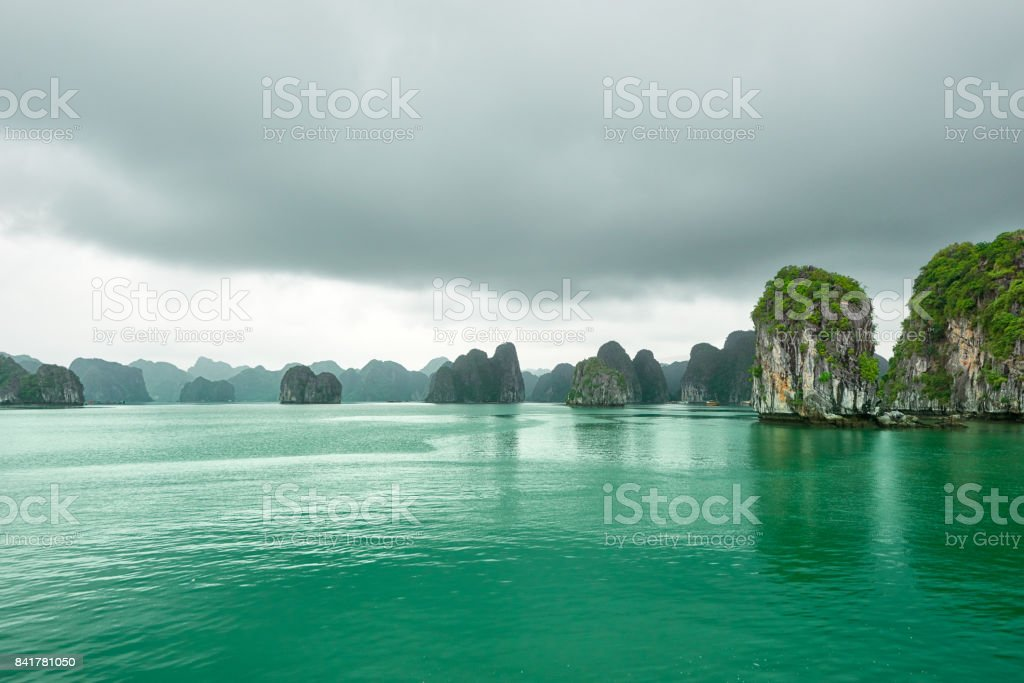 Scenic view karst mountains islands stock photo