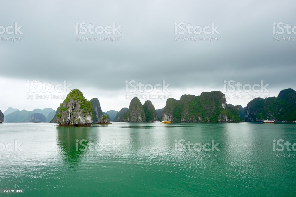 Scenic view karst mountains islands. stock photo