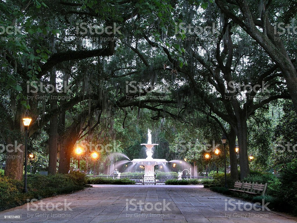 A scenic view of a fountain at a park in Savannah stock photo