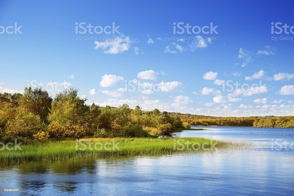 Scenic view of a lake and forest in autumn in North Mountain royalty-free stock photo