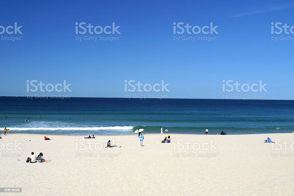 Scenic view of a quiet day on Bondi beach in Sydney royalty-free stock photo