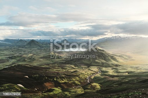 Scenic view of Alftavatn lake valley at sunset