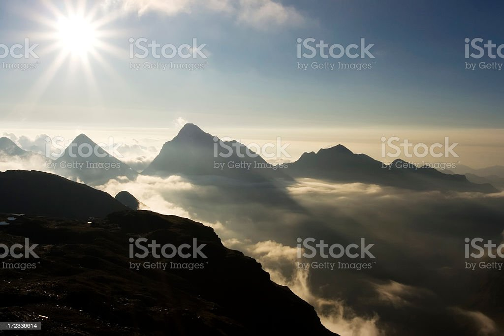 Scenic view of Alp mountains in sunny day royalty-free stock photo