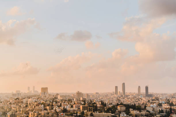Scenic view of Amman city at sunset stock photo