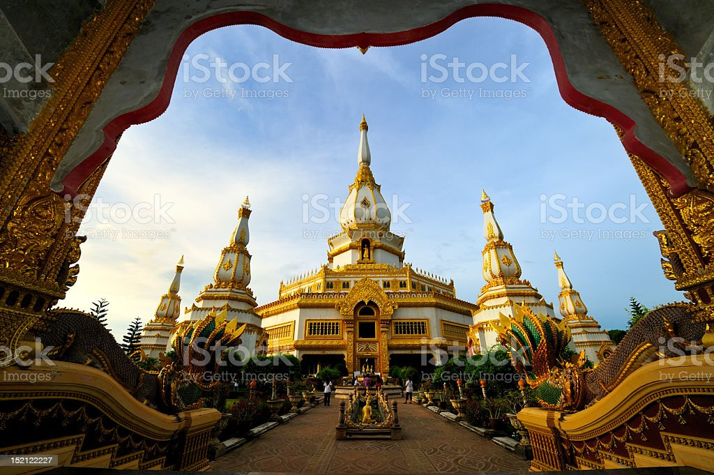 Scenic view of an ornate Thai stupa on a sunny day stock photo