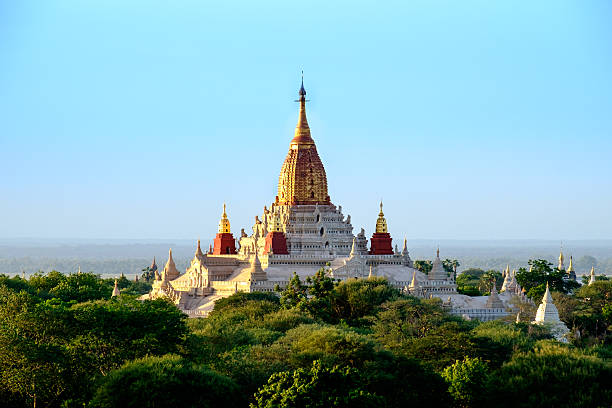 Scenic view of Ananda temple in old Bagan area, Myanmar stock photo