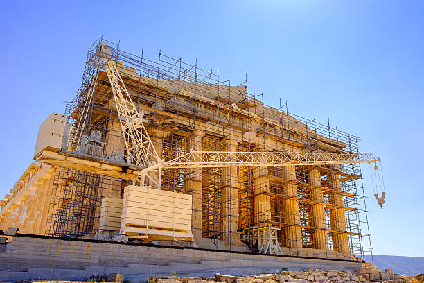 Scenic view of ancient Pantheon temple under construction, Athen stock photo