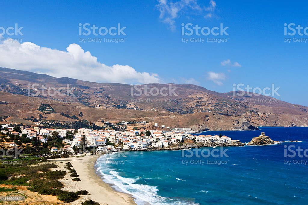 Scenic view of Andros Island, Greece on a sunny day stock photo