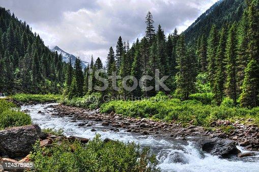 HDR of river landscape (Austria). Krimmler Achen valley in Salzburg.