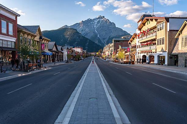 scenic view of Banff townsite stock photo