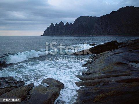 Scenic view of beach on Lofoten island