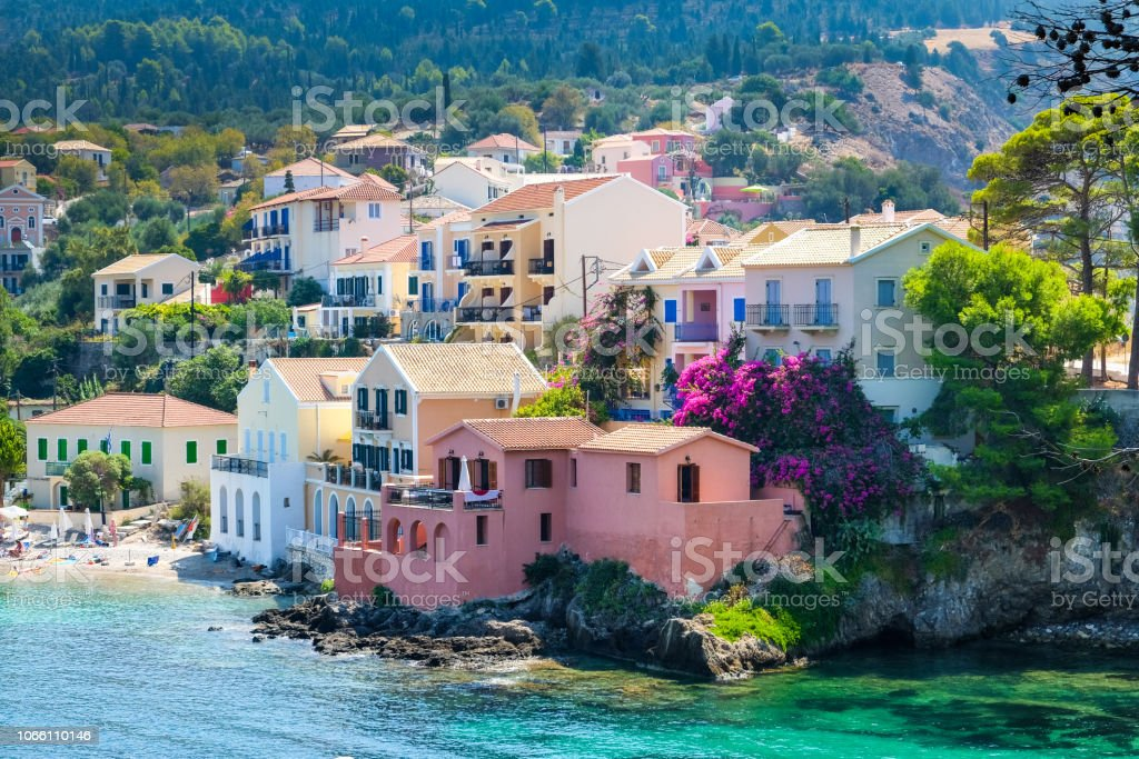 Scenic view of beautiful fisherman village Asos in Kefalonia stock photo