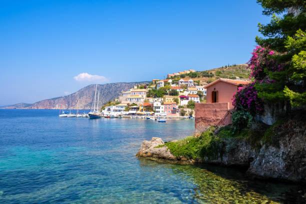 Scenic view of beautiful fisherman village Asos in Kefalonia stock photo