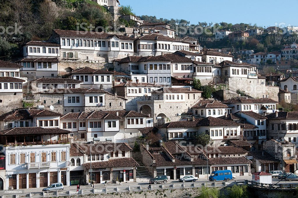 Scenic view of Berat, city of a thousand windows stock photo