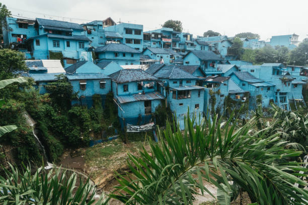 Scenic view of blue  village on  Java stock photo