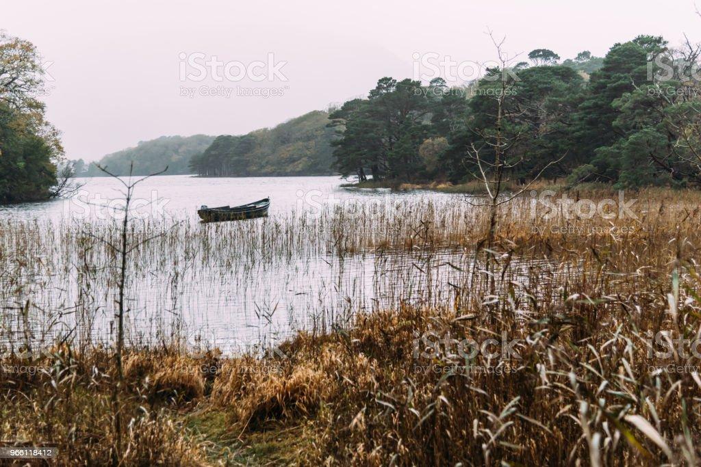 Vacker utsikt över båten i sjön i Killarney en dimmig dag - Royaltyfri Berg Bildbanksbilder
