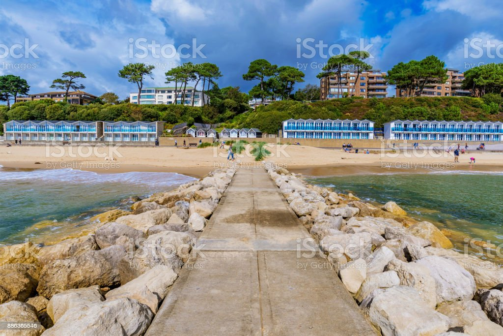 Scenic view of Bournemouth beach stock photo