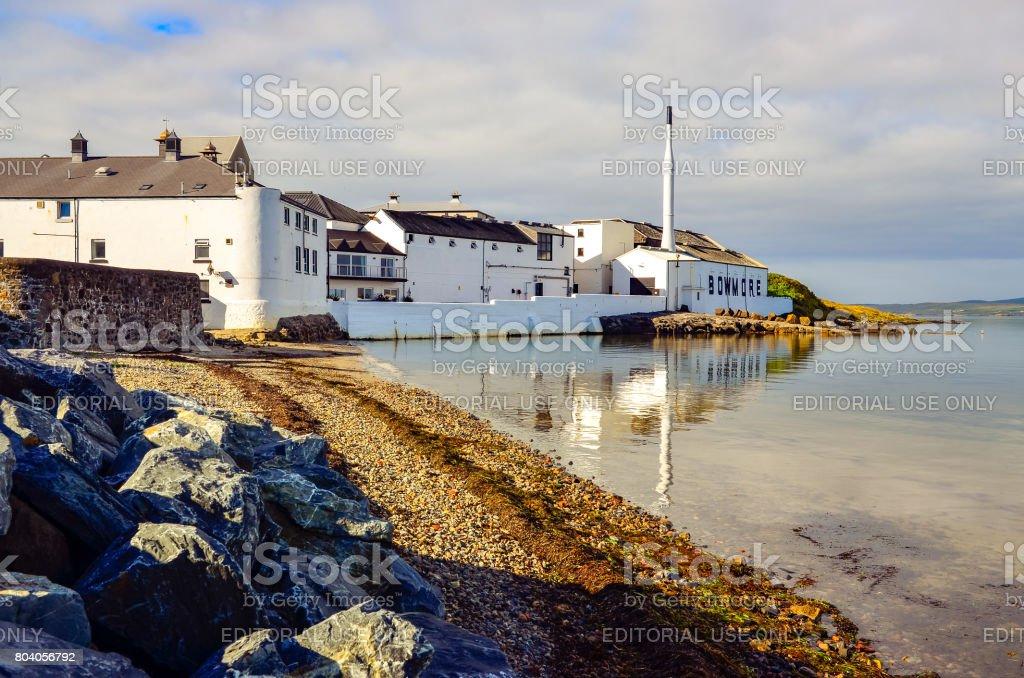 Scenic view of Bowmore distillery, Island of Islay, United Kingdom stock photo