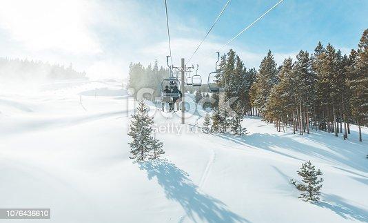 Breckenridge, United States - December 2, 2018: View of untracked ski slope and ski lift in Breckenridge ski resort.