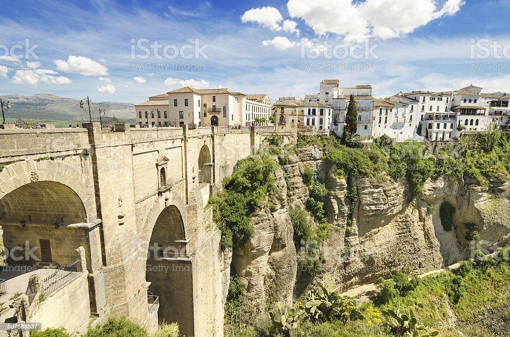 Scenic view of bridge and canyon, Ronda, Malaga, Andalusia, Spain. stock photo