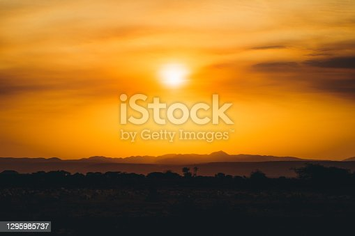 istock Scenic view of burning sunset above the mountains and savannah in Tanzania 1295985737