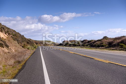 Wide angle street level view of the famous California Highway 1.  Taken from California Highway 1, California, USA