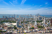 Scenic view of Cartagena cityscape, modern skyline, hotels and ocean bays Bocagrande and Bocachica from the lookout hill of Santa Cruz convent (Convento de la Popa)