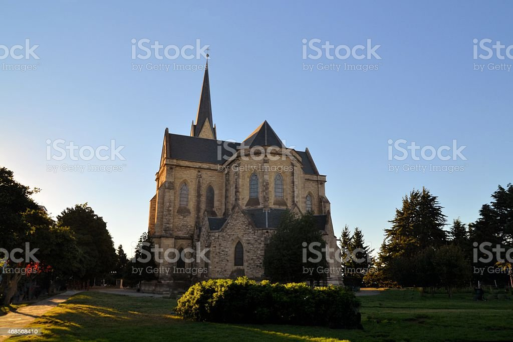 Scenic view of Cathedral in the city of Bariloche, Argentina stock photo