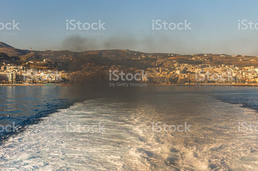 Scenic view of cityscape and bay. Chania, Greece. stock photo