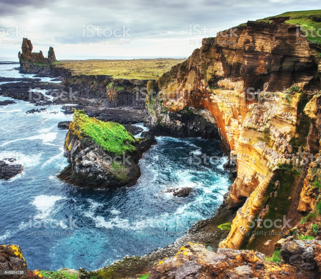 Scenic view of coastline at Arnarstapi Iceland stock photo
