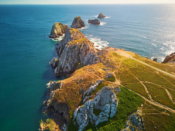 Scenic view of Crozon peninsula, one of the most popular tourist destinations in Brittany, France stock photo