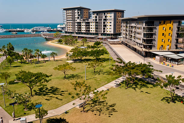 scenic view of darwin city waterfront - darwin stock photos and pictures