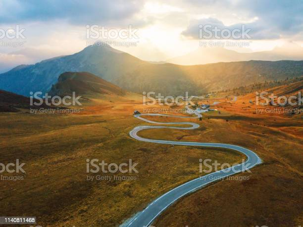 Photo of Scenic view of Dolomites Alps, Giau Pass at sunset