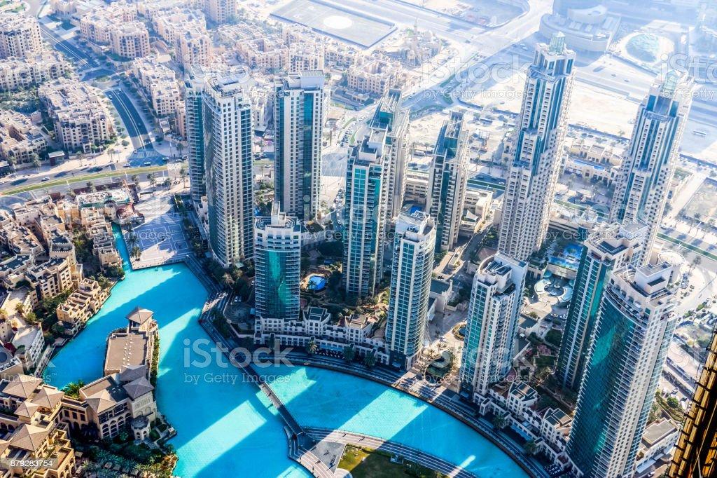 Scenic view of Dubai Skyscrapers and Skyline, United Arab Emirates stock photo
