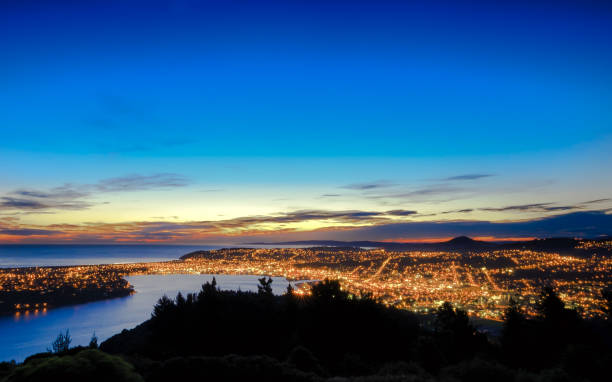 Scenic view of Dunedin City, South island, New Zealand stock photo